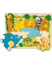 Puzzle din lemn Woody - Jungla -1