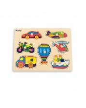 Puzzle din lemn cu manere Andreu toys - Vehicule -1