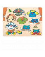 Puzzle din lemn cu manere Woody - Imbraca-l pe Sebastian -1