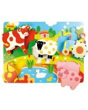 Puzzle din lemn Bigjigs - Ferma cu animale