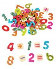 Set de joaca Lelin - Magneti din lemn , Cifre si semne -1