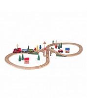 Set din lemn Woody - Tren cu sine si accesorii, 40 de piese -1