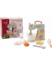 Mixer de lemn pentru copii Jouéco, cu accesorii pentru prajituri -1