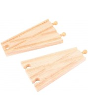 Set din lemn Bigjigs - Ramificari feroviare drepte, 2 bucati