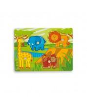 Puzzle din lemn  Andreu toys - Jungla, cu indiciu -1