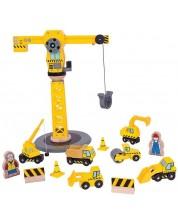 Set de joaca din lemn Bigjigs - Macara de constructii cu accesorii -1