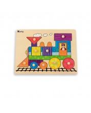 Puzzle din lemn cu manere Andreu toys - Trenulet -1