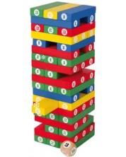Joc din lemn Small Foot - Jenga, cu numere si zaruri