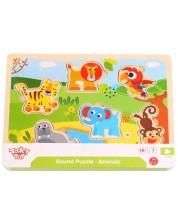 Puzzle muzical din lemn Tooky Toy - Animalute -1
