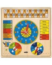 Calendar din lemn cu ceas Woody - Animale, in limba engleza -1