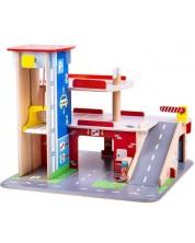 Garaj din lemn Bigjigs - Parcheaza si joaca-te, cu 3 etaje -1