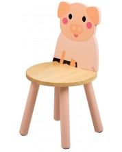 Scaunel din lemn pentru copii Bigjigs - Purcelus