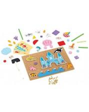 Joc creativ pentru copii Bigjigs - Lumea subacvatica, cu tabla de pluta si ciocan