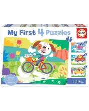 Puzzle pentru copii Educa 4 in 1 -Vehicles