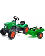 Tractor cu remorca pentru copii, cu capac care se deschide si pedale Falk - Verde -1