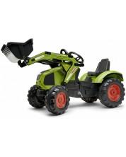 Excavator pentru copii Falk - Claas, cu pedale, cupa si anvelope izolate fonic, verde -1