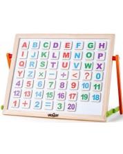 Tabla magnetica pentru copii Woody - Cu litere, numere si doua fete -1