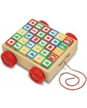 Jucarie de tras pentru copii Melissa & Doug - Set de construit ABC-123 -1