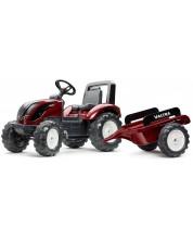 Tractor pentru copii Falk - Valtra, cu remorca si pedale, rosu -1