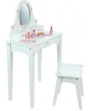 Masuta de toaleta din lemn pentru copii  Bigjigs  - Cu scaunel, alba -1