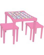 Set Masa si doua scaune  pentru copii Pilsan, roz