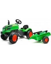 Tractor pentru copii Falk - Cu remorca, capac ce se deschide si pedale, verde -1