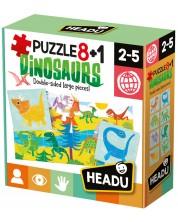 Puzzle educativ Headu - Dinozauri, 8+1 -1