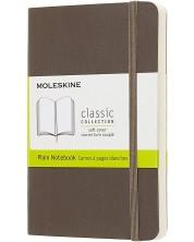 Agenda de buzunar cu coperti moi Moleskine Classic Plain - Maro, file albe