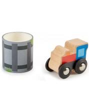 Set de joaca Hape - Trenulet din lemn cu sine pe banda sticker
