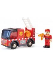 Jucarie de lemn Hape - Masina de pompieri cu sirena -1
