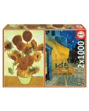 Puzzle Educa din 2 x 1000 -Vincent van Gogh, Sunflowers and Café Terrace at Night