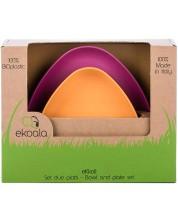 Set eco eKoala - 2 farfurii, portocalie si mov -1