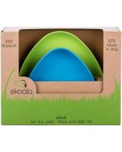 Set eco eKoala - 2 farfurii, albastra si verde -1