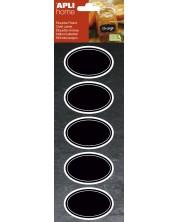 Etichete cu tabla neagra APLI - Oval, 12 bucati -1
