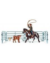 Set figurine Schleich Farm World - Cowboy cu lasou