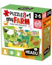 Puzzle educativ  Headu - Ferma, 8+1 -1