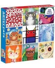 Puzzle Galison de 500 piese - Pisici artistice
