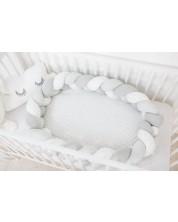 Cuib pentru bebelusi Bubaba - Gri cu alb, impletit -1