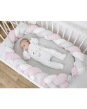 Cuib pentru bebelusi Bubaba - Roz cu alb, impletit -1
