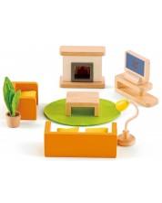 Set mini mobilier din lemn Hape - Camera de zi -1