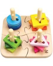 Puzzle Hape cu figurine pentru insirat, din lemn -1