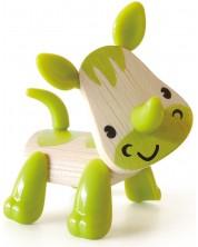 Jucarie pentru copii din bambus Hape - Animal mini Rinocer -1