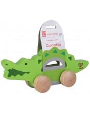 Jucarie pe roti din lemn - Crocodil -1