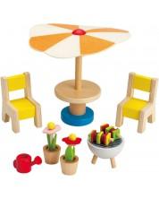 Set mini mobilier din lemn Hape - Curte/terasa, 7 piese -1