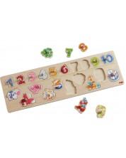 Puzzle din lemn Haba - Cifre si animale, cu manere -1