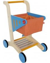Carucior de cumparaturi din lemn pentru copii -1