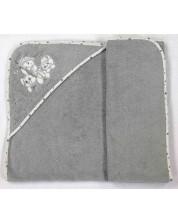 Prosop cu gluga bebe Bambino Casa - Paris Rosa, 100 х 100 cm -1