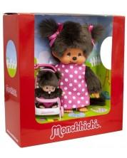 Set de joaca Monchhichi - Maimute din plus, mama si bebelus in carucior