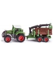 Jucarie metalica Siku Super - Tractor cu remorca pentru busteni -1