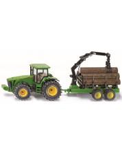 Masinuta metalica Siku -Tractor John Deere cu remorca pentru busteni, 1:50 -1